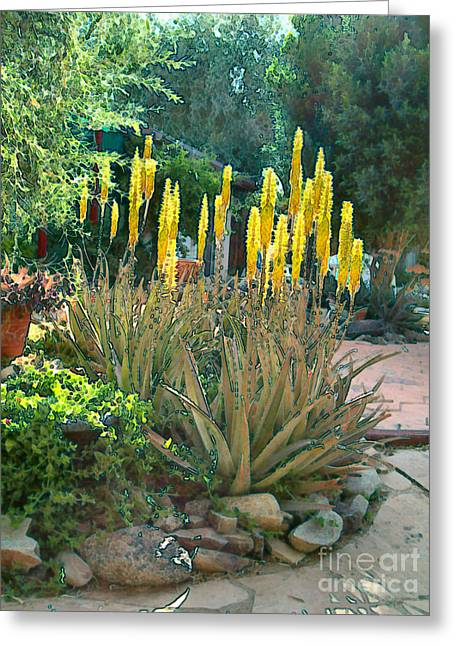 Greeting Card featuring the painting Medicine Aloes In Bloom by Elinor Mavor
