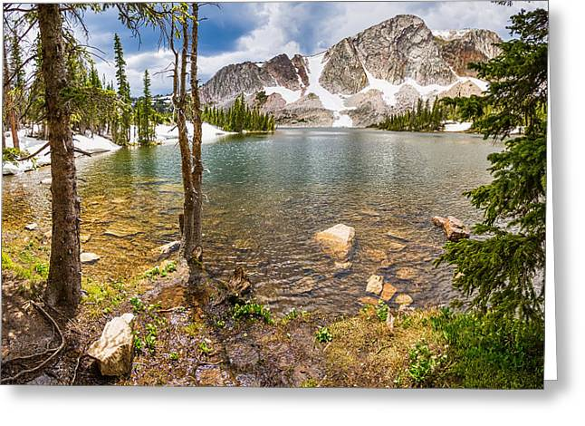 Medicine Bow Snowy Mountain Range Lake View Greeting Card