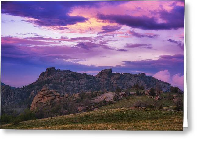 Medicine Bow Sunset Greeting Card by Darren  White