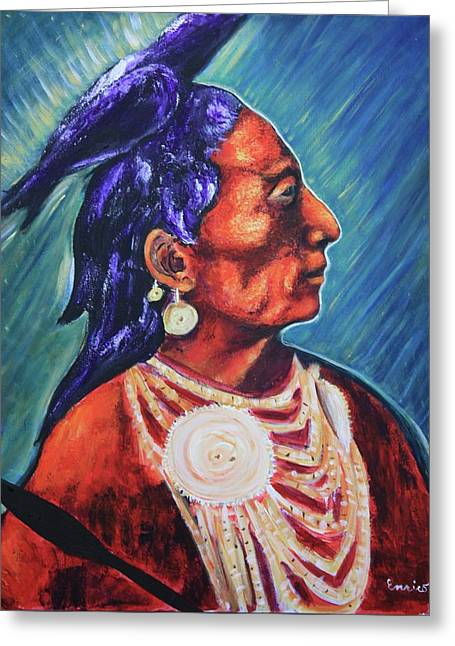 Medicine Crow After E.s. Curtis Greeting Card by Art Enrico