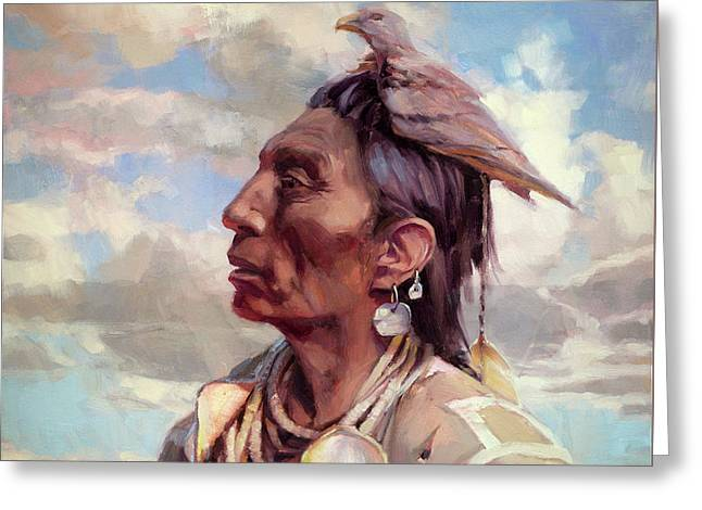 Greeting Card featuring the painting Medicine Crow by Steve Henderson