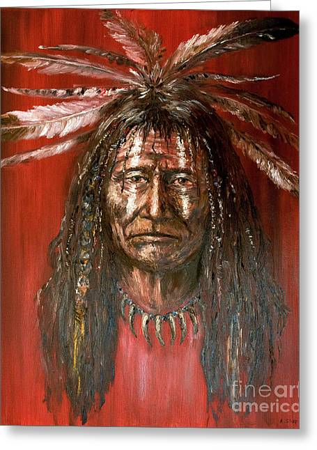 Greeting Card featuring the painting Medicine Man by Arturas Slapsys