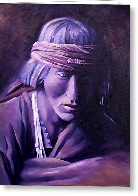 Greeting Card featuring the painting Medicine Man by Nancy Griswold