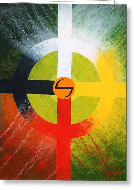 Medicine Wheel Greeting Card by J W Kelly