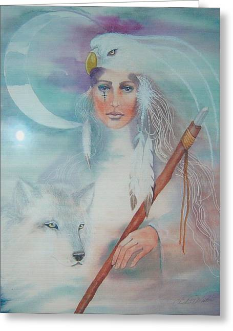 Great Mother Greeting Cards - Medicine woman Greeting Card by Christine Winters