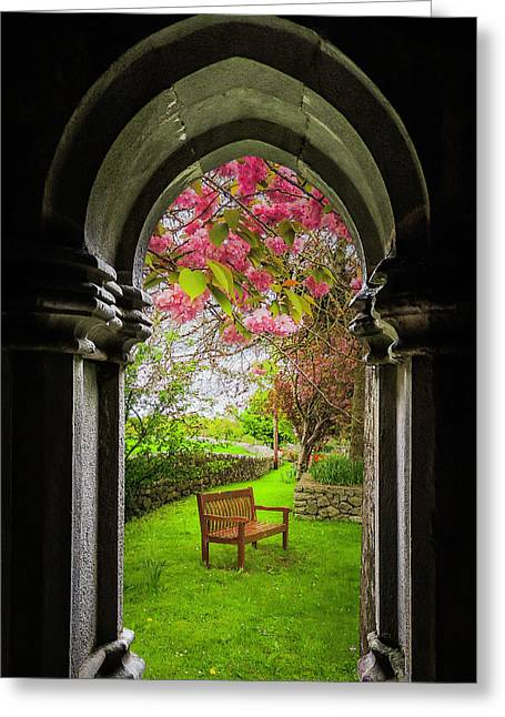 Greeting Card featuring the photograph Medieval Abbey In Irish Spring by James Truett