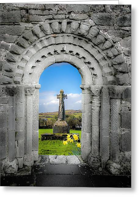 Medieval Arch And High Cross, County Clare, Ireland Greeting Card
