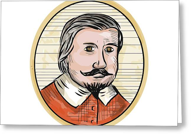 Medieval Aristocrat Gentleman Oval Woodcut Greeting Card by Aloysius Patrimonio