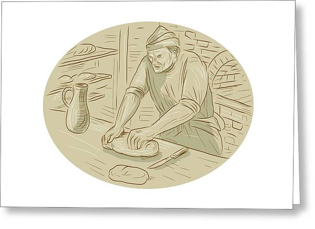 Medieval Baker Kneading Bread Dough Oval Drawing Greeting Card by Aloysius Patrimonio
