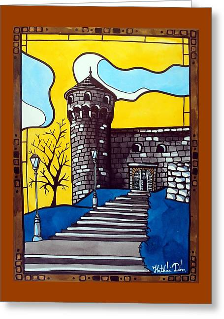 Greeting Card featuring the painting Medieval Bastion -  Mace Tower Of Buda Castle Hungary By Dora Hathazi Mendes by Dora Hathazi Mendes