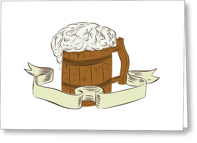 Medieval Beer Mug Foam Drawing Greeting Card by Aloysius Patrimonio