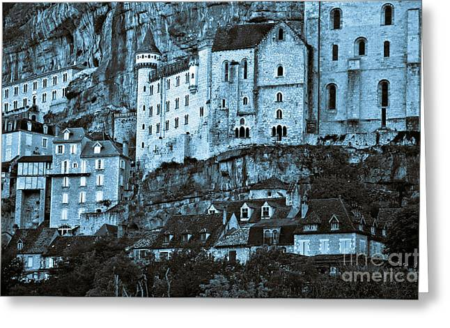 Medieval Castle In The Pilgrimage Town Of Rocamadour Greeting Card