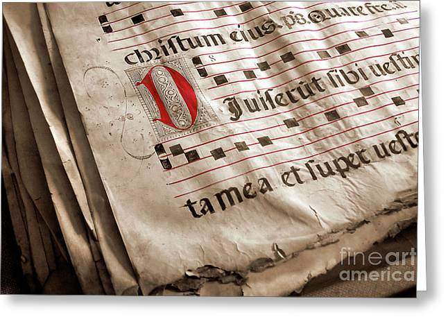 Words Background Greeting Cards - Medieval Choir Book Greeting Card by Carlos Caetano