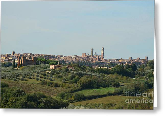 Medieval City Of Siena In Tuscan Countryside Greeting Card by DejaVu Designs