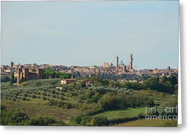 Medieval City Of Siena In Tuscany Greeting Card by DejaVu Designs