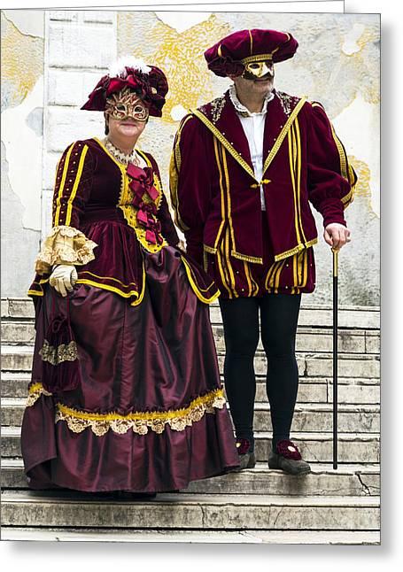 Medieval Couple 2015 Carnevale Di Venezia Italia Greeting Card