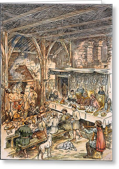 Bard Greeting Cards - Medieval Dining Hall Greeting Card by Granger