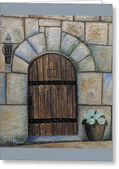 Medieval Door Greeting Card by Angeles M Pomata