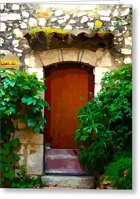 Medieval Doorway, Eze Greeting Card