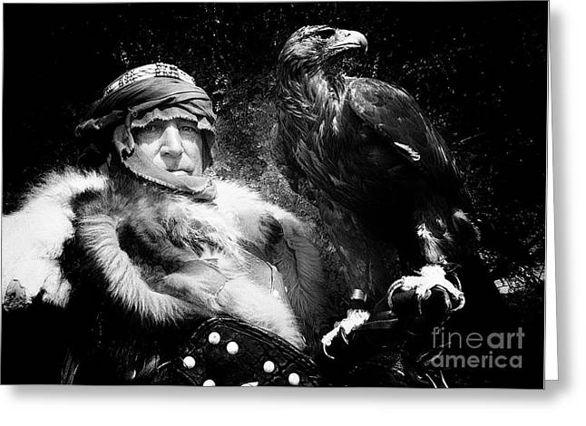 Medieval Fair Barbarian And Golden Eagle Greeting Card by Bob Christopher