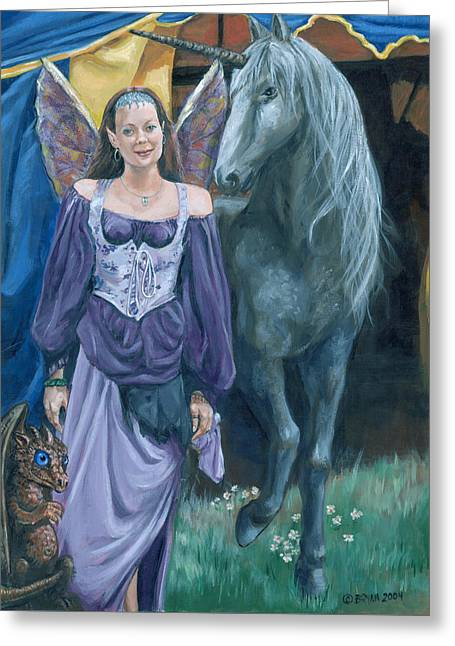 Greeting Card featuring the painting Medieval Fantasy by Bryan Bustard