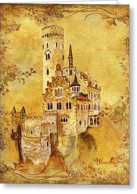 Medieval Golden Castle Greeting Card
