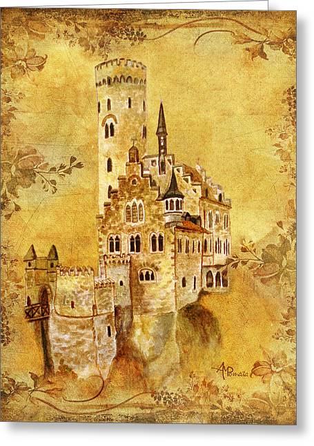 Greeting Card featuring the painting Medieval Golden Castle by Angeles M Pomata