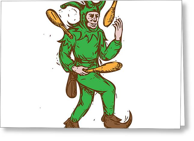 Medieval Jester Juggling Wooden Pins Drawing Greeting Card