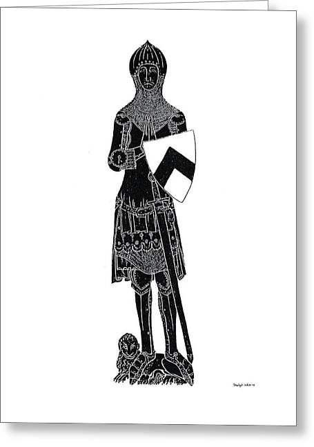Brass Rubbing Greeting Cards - Medieval Knight Brass Rubbing Greeting Card by Shelagh Watkins