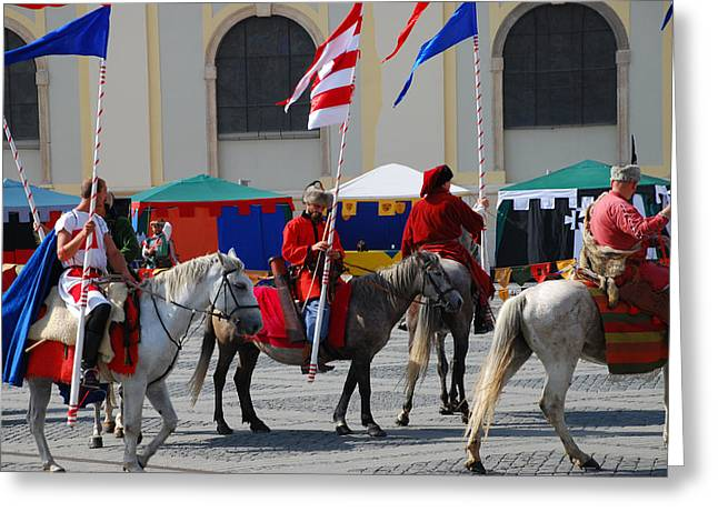 Medieval Knights Parade Greeting Card by Adrian Bud