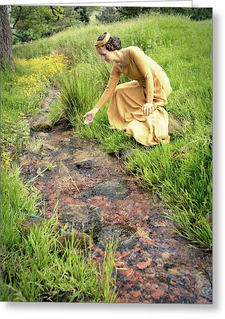 Medieval Lady By A Stream Greeting Card