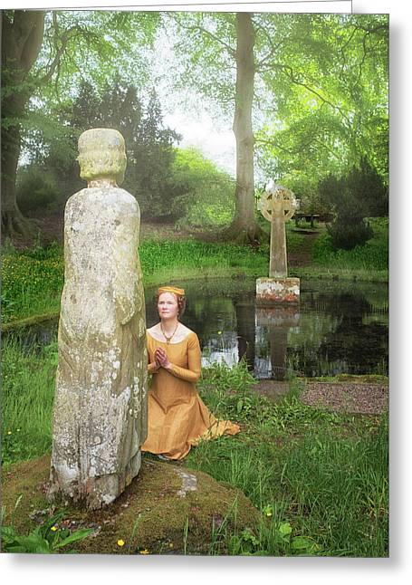 Medieval Lady Praying To Saint Ninian Greeting Card