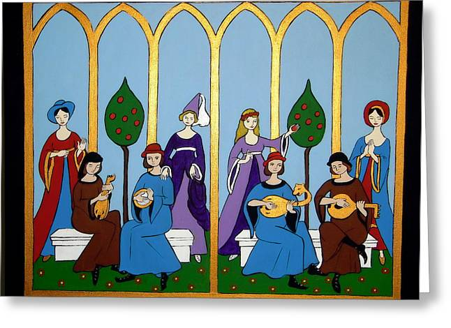 Greeting Card featuring the painting Medieval Musicians by Stephanie Moore