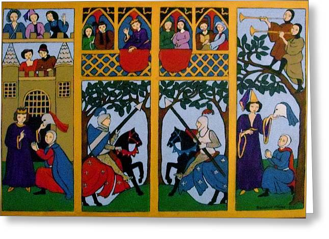 Medieval Scene Greeting Card by Stephanie Moore