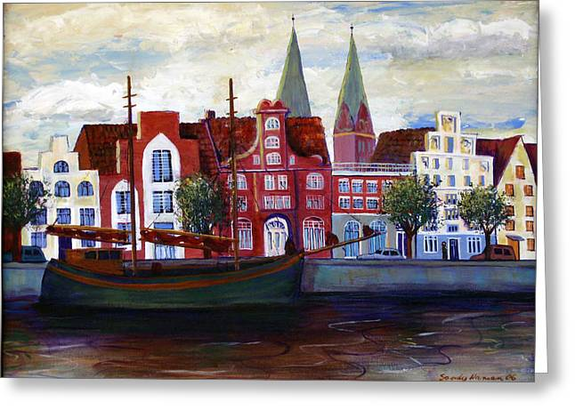 Medieval Town In Lubeck Germany Greeting Card