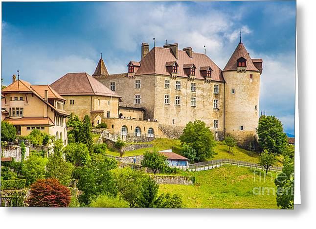 Medieval Town Of Gruyeres Greeting Card by JR Photography
