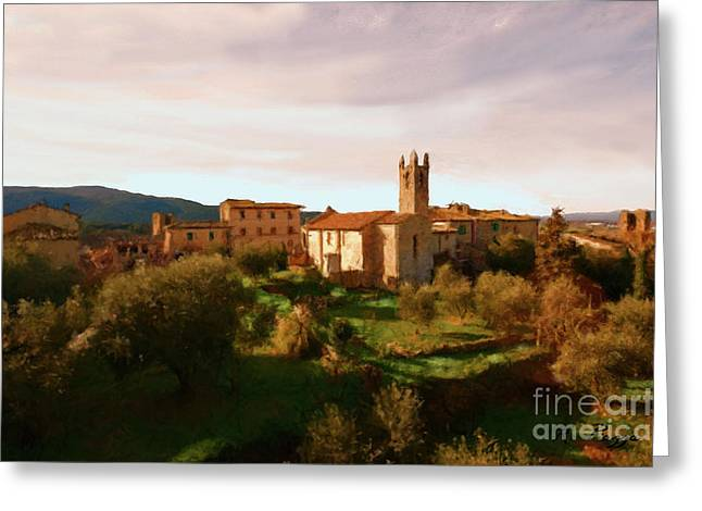Greeting Card featuring the painting Medieval Tuscany by Rosario Piazza