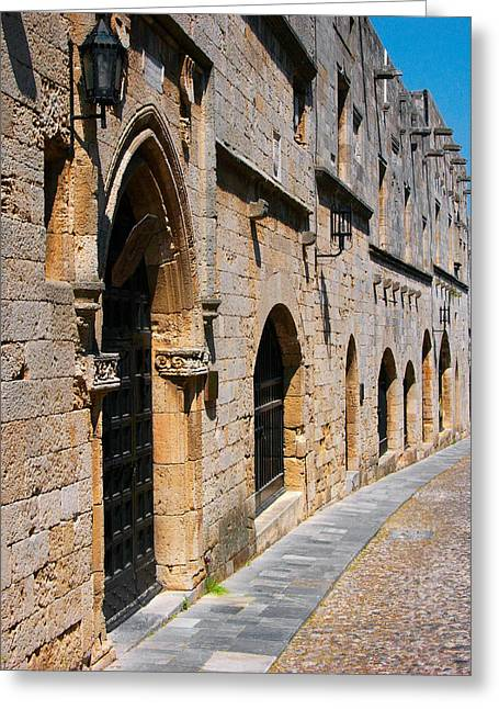 Rhodes Greeting Cards - Medievil Town in Rhodes Greeting Card by Sandra Bronstein