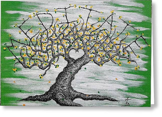 Greeting Card featuring the drawing Meditate Love Tree by Aaron Bombalicki