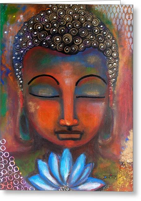 Meditating Buddha With A Blue Lotus Greeting Card