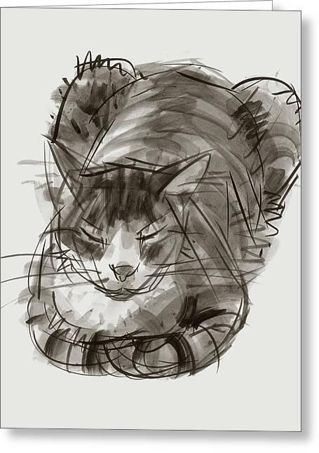 Meditating Cat Greeting Card