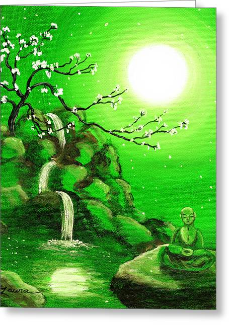 Meditating While Cherry Blossoms Fall In Green Greeting Card by Laura Iverson