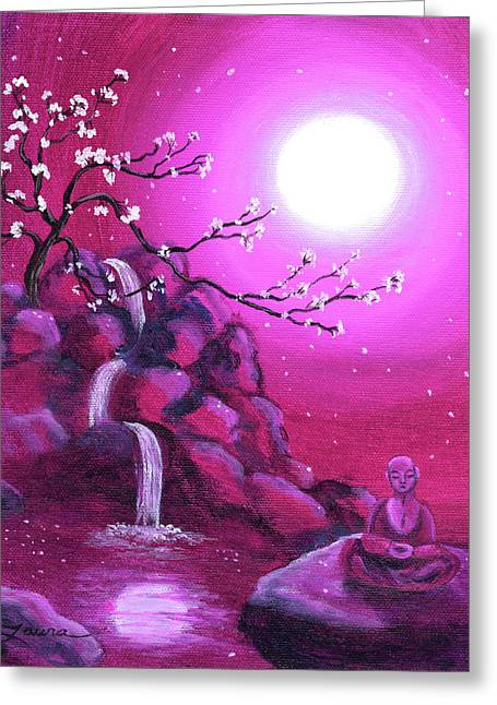 Buddhist Paintings Greeting Cards - Meditating while Cherry Blossoms Fall Greeting Card by Laura Iverson