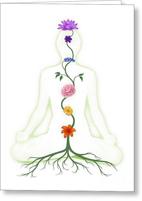 Meditating Woman With Chakras Shown As Flowers Greeting Card