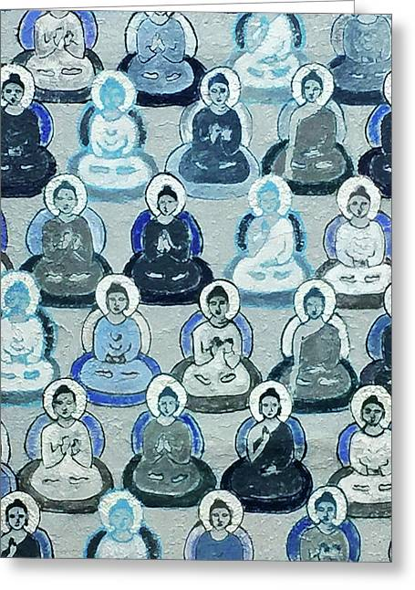 Meditation In Blue Greeting Card