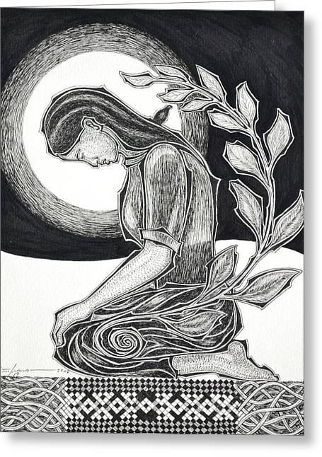 Meditation Greeting Card by Raul Agner