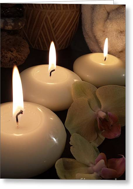 Meditation Spa Candles IIi Still Life Greeting Card by Beverley Douglas