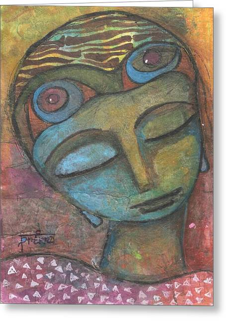 Greeting Card featuring the mixed media Meditative Awareness by Prerna Poojara