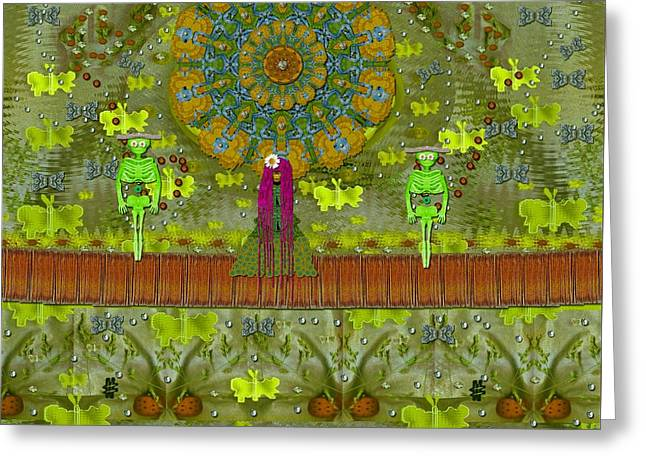Meditative Garden Got Visit Of Lady Panda And The Floral Skulls Greeting Card by Pepita Selles