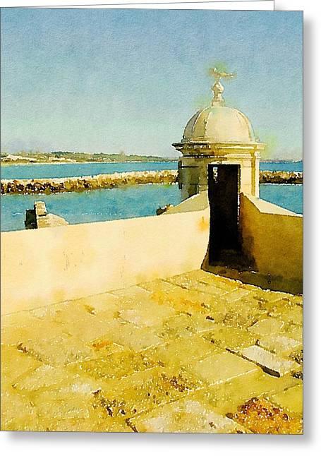 Mediteranean View By John Springfield Greeting Card